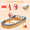 Wooden Pirate Sandboat Sandboxes wIth Bench Seat Flag for Outdoor