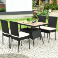 5 Pieces Patio Rattan Dining Set Table with Wooden Top