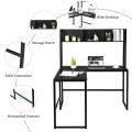 "Industrial L-Shaped Desk Bookshelf 55"" Corner Computer Gaming Table"