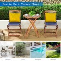 3PCS Patio Folding Wooden Bistro Set Cushioned Chair