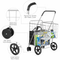 Folding Shopping Cart for Laundry with Swiveling Wheels & Dual Storage Baskets