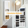 5 LEDs Lockable Mirror Jewelry Cabinet Armoire with 6 Drawers