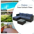 5 Pieces Patio Rattan Sectional Furniture Set with Cushions and Coffee Table