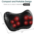 Shiatsu Pillow Massager with Heat Deep Kneading for Shoulder, Neck and Back