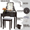 Vanity Dressing Table Set with 10 Dimmable Bulbs and Cushioned Stool