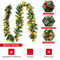 9 ft Pre-lit Snow Flocked Tips Christmas Garland with  Red Berries 50 Lights