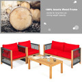 4 Pieces Acacia Wood Sofa Set with Cushions for Outdoor Patio