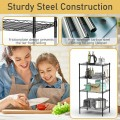 4-Wire Shelving Metal Adjustable Storage Rack with Removable Hooks