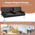 Convertible Folding Leather Futon Sofa with Cup Holders and Armrests