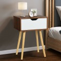 End Side Storage Drawer Nightstand with Solid Wooden Leg