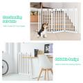 "36"" Folding Wooden Freestanding Pet Gate Dog Gate with 360° Flexible Hinge"