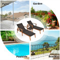 3 Pcs Patio Wooden Frame Rattan Lounge Chaise Chair Set with Folding Table