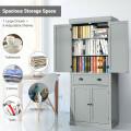 Cupboard Freestanding Kitchen Cabinet with Adjustable Shelves