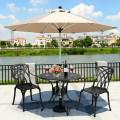 "36"" Cast Aluminum Round Patio Dining Table with Umbrella Hole"