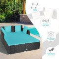 Outdoor Patio Rattan Daybed Thick Pillows Cushioned Sofa Furniture