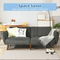 Convertible Futon Sofa Bed Adjustable Couch Sleeper with Wood Legs