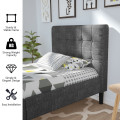 Platform Bed with Button Tufted Headboard