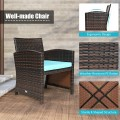 3 Pieces PE Rattan Wicker Furniture Set with Cushion Sofa Coffee Table for Garden
