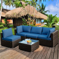 5 Pieces Cushioned Patio Rattan Furniture Set with Glass Table