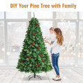 7 Feet Unlit Hinged PVC Artificial Christmas Pine Tree with Red Berries