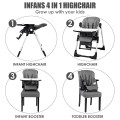 4 in 1 High Chair–Booster Seat with Adjustable Height and Recline