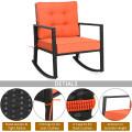 Patio Rattan Rocker Outdoor Glider Rocking Chair Cushion Lawn