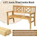 Patio Foldable Bench with Curved Backrest and Armrest