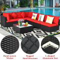 7-Piece Outdoor Sectional Wicker Patio Furniture Sofa Set with Tempered Glass Top and Softy Cushions