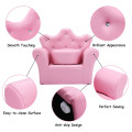 Children Upholstered Princess Sofa with Ottoman and Diamond Decoration for Boys and Girls