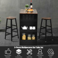 3 Pieces Bar Table Set with Storage
