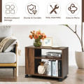 3-tier Side Table with Wheels & Large Storage Shelf