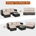 2 Pieces Patio Rattan Armless Sofa Set with 2 Cushions and 2 Pillows