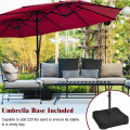 15 Foot Extra Large Patio Double Sided Umbrella with Crank and Base
