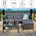 3 Piece Outdoor Patio Corner Rattan Sofa Set