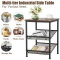 3-Tier Industrial End Side Table Nightstand Adjustable Shelves