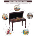 Solid Wood PU Leather Piano Bench with Storage