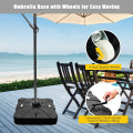220 lbs Offset Patio Umbrella Base with Wheels Sand Water Filled