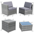 8 Piece Wicker Sofa Rattan Dinning Set Patio Furniture with Storage Table