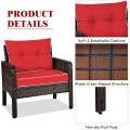 3 Pcs Outdoor Patio Rattan Conversation Set with Seat Cushions