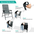 Patio Folding Padded Chair with High Backrest and Cup Holder
