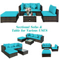 5 Pcs Outdoor Patio Rattan Furniture Set Sectional Conversation with Cushions