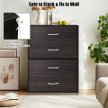 2-Drawer Stackable Horizontal Storage Cabinet Dresser Chest with Handles