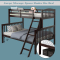 Twin over Full Bunk Bed Rubber Wood Convertible with Ladder Guardrail