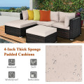 5 Pieces Patio Rattan Sofa Set with Cushion and Ottoman