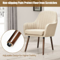 Set of 2 Fabric Upholstered Accent Chairs with Wooden Legs