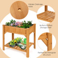8 Grids Wood Elevated Garden Planter Box Kit with Liner and Shelf