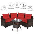 4Pcs Outdoor Cushioned Rattan Furniture Set