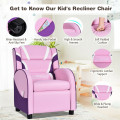 Kids Leather Recliner Chair with Side Pockets