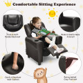 Children PU Leather Recliner Chair with Front Footrest