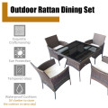 Outdoor 5PCS Dining Table Set with 1 Table and 4 Single Sofas